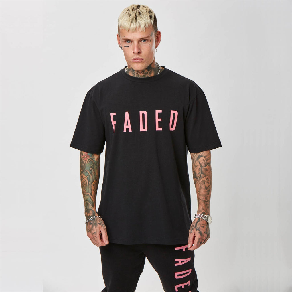 Black Streetwear T-shirt with Pink Faded branding