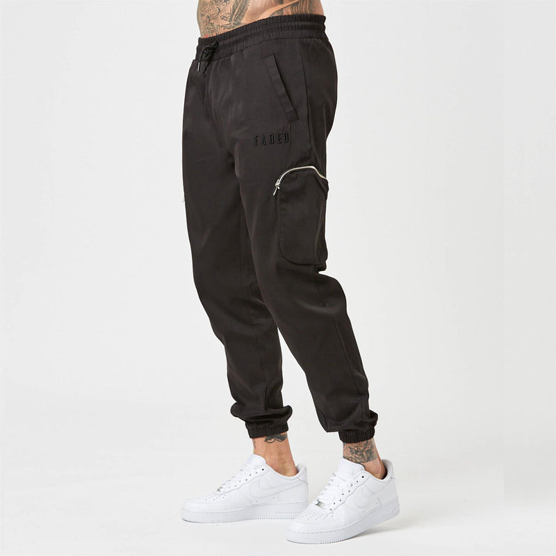 Mens Stealth utility trousers in black with double zips