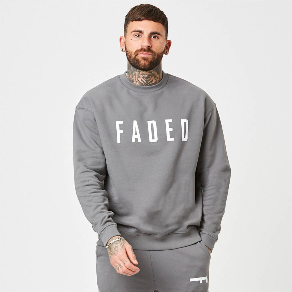 Heavyweight branded jumper in grey
