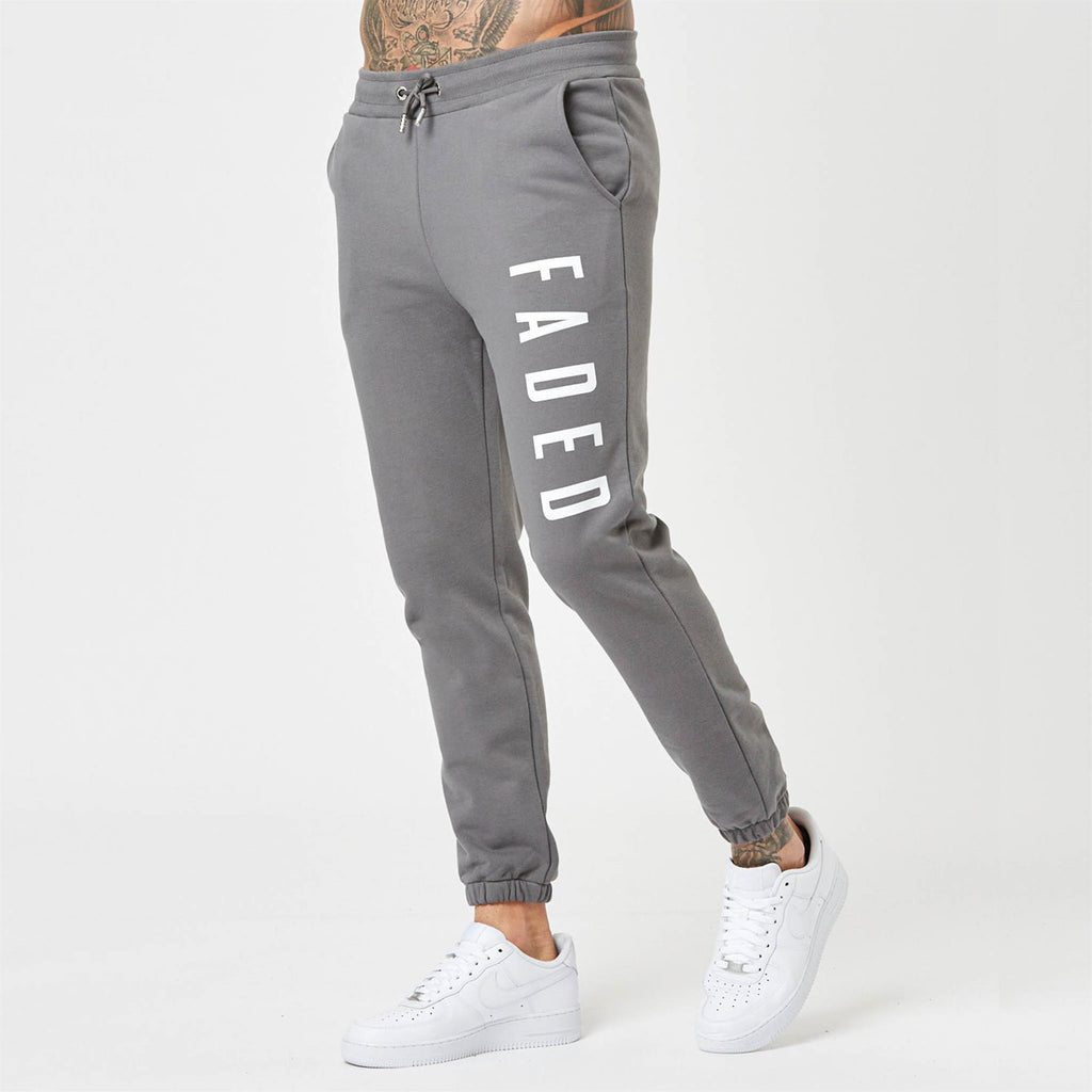 Grey heavyweight branded joggers for men