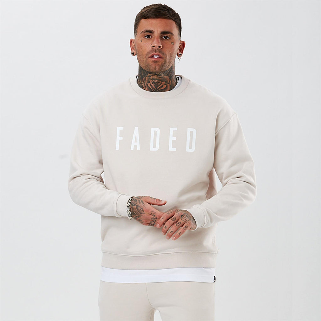 Mens FADED branded jumper in ecru