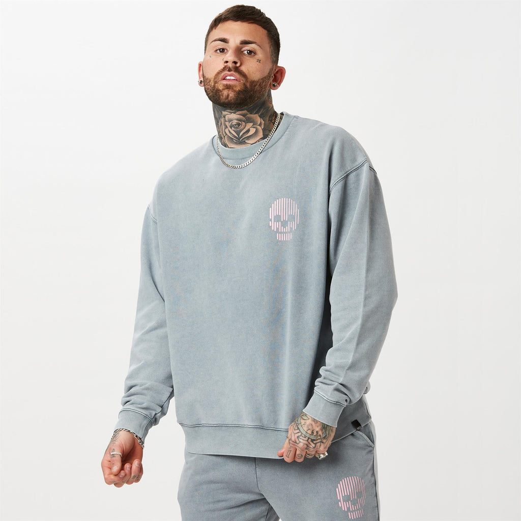 FADED mini skull acid wash branded jumper