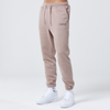 model wearing mens branded joggers in the colour brown