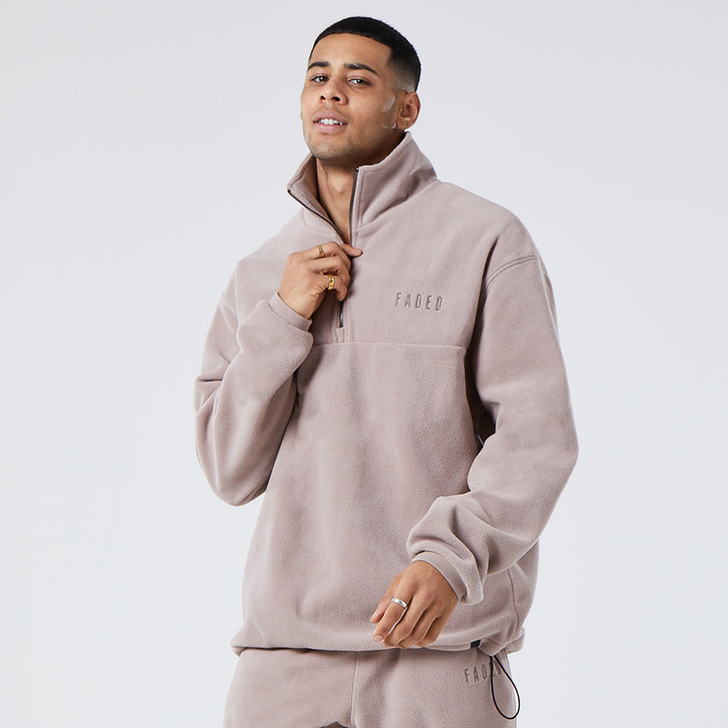 1/4 Zip Polar Fleece | Brown