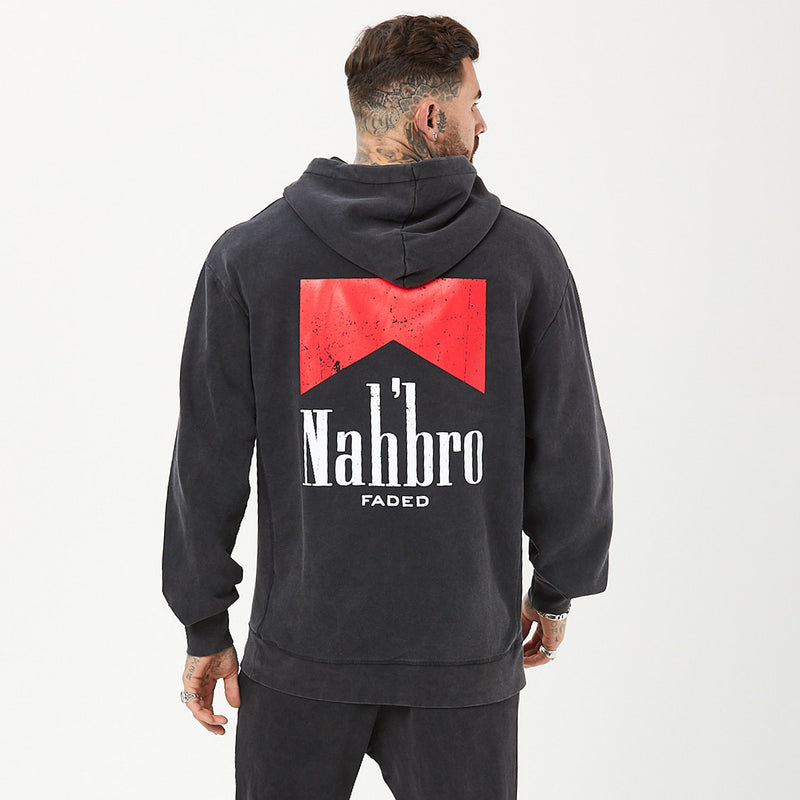 back of mens graphic hoody in vintage washed black with nahbro detail