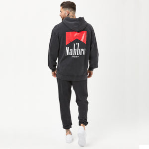 back profile of mens graphic hoodie with nahbro detail