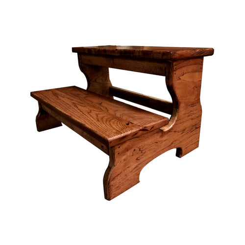 "Two Step Stool Wood 20"" Long Handicapped Elderly Custom Handmade Personalized Engraved Bed Kitchen Bathroom Solid Hardwood Kids"