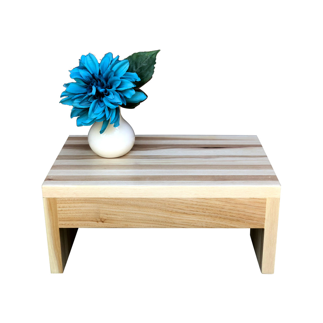 Modern Wood Step Stool by CW Furniture Footstool Custom Personalized Engraved Handmade Walnut Maple Birch Hickory Wooden Bed Kitchen Bathroom Kids