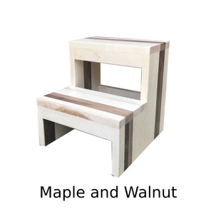 Two Step Stool Wood Modern by CW Furniture Footstool Custom Handmade Personalized Engraved Wooden Maple Walnut Hickory Bed Kitchen Bathroom Kids