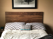 Load image into Gallery viewer, Walnut Headboard Modern by CW Furniture King Queen Full Twin Size Custom Handmade Solid Hardwood Minimalist Legs or Wall Mount French Cleat