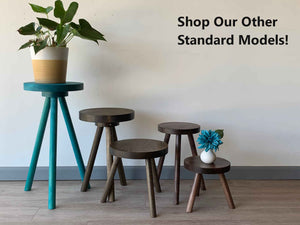 Side Table End Table Round Wood Stool Custom Handmade Barstool Bar Set Modern Minimal Simple Three Legged Accent Nightstand Hardwood