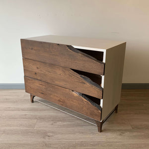 Live Edge Wood Dresser by CW Furniture Custom Reclaimed Rustic Modern White Drawer Chest of Drawers Chest Dresser Modern Reclaimed Wood