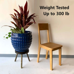 Modern Plant Stand Three Leg Stool Large by CW Furniture Wood Indoor Flower Pot Base Display Holder Solid Wooden Kids Chair Tea Table Minimalist