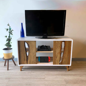 Live Edge Wood TV Console Table by CW Furniture Custom Reclaimed Rustic Modern White Drawer Side Table End Table Accent Metal Living Room Sofa
