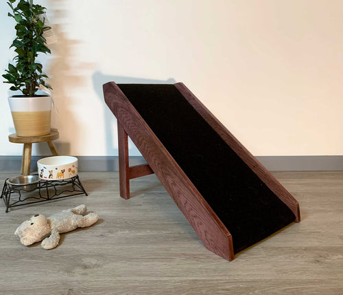 Pet Ramp Step by CW Furniture Custom Personalized Dog Ramp Cat Ramp Bed Ramp Folds Free Standing Solid Hardwood Elderly Disabled Natural Engraved