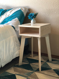 Side Table Wood Modern with Shelf by CW Furniture Nightstand End Table Accent Maple Walnut Oak Birch Handmade Custom Minimalist Living Room Bedroom