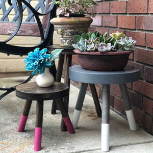 Modern Plant Stand Three Leg Stool Choose Finish by CW Furniture Wood Indoor Flower Pot Base Display Holder Solid Wooden Kids Chair Table Minimalist