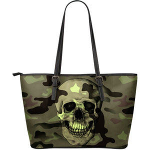 Camo Skull Large Leather Tote Bag