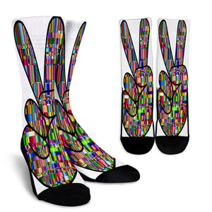 Colorful Prismatic Peace Sign Crew Socks