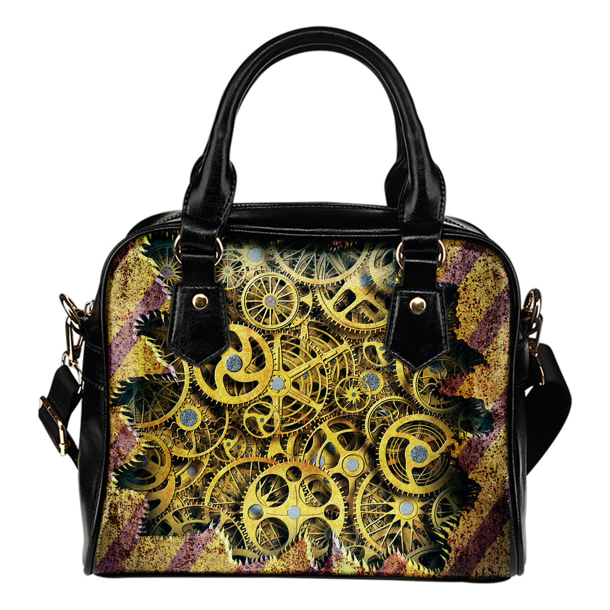 Hidden Cogs Shoulder Handbag