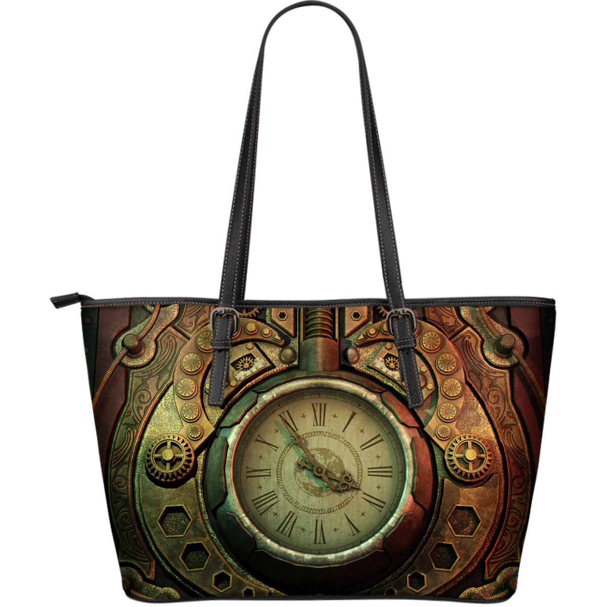 Piston Clock Steampunk Large Leather Tote