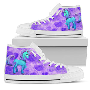 Unicorn Purple Womens High Top Shoes (white)