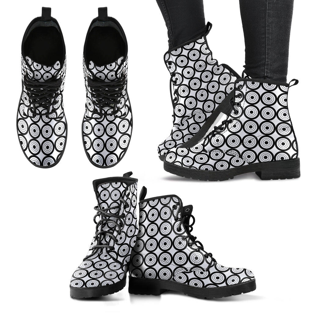 Circles Black & White P1 - Leather Boots for Women