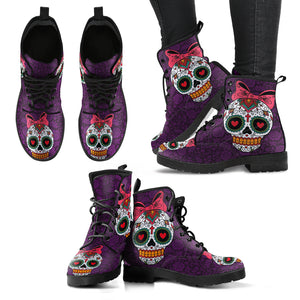 Sugar Skull Women's Leather Boots