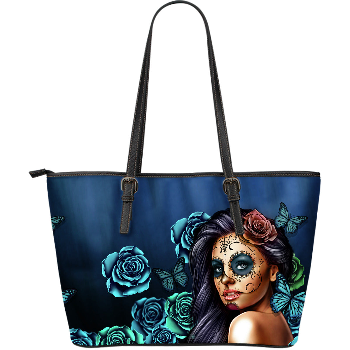 Large Leather Tote Calavera (Teal)
