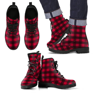 Men's Leather Boots - Plaid