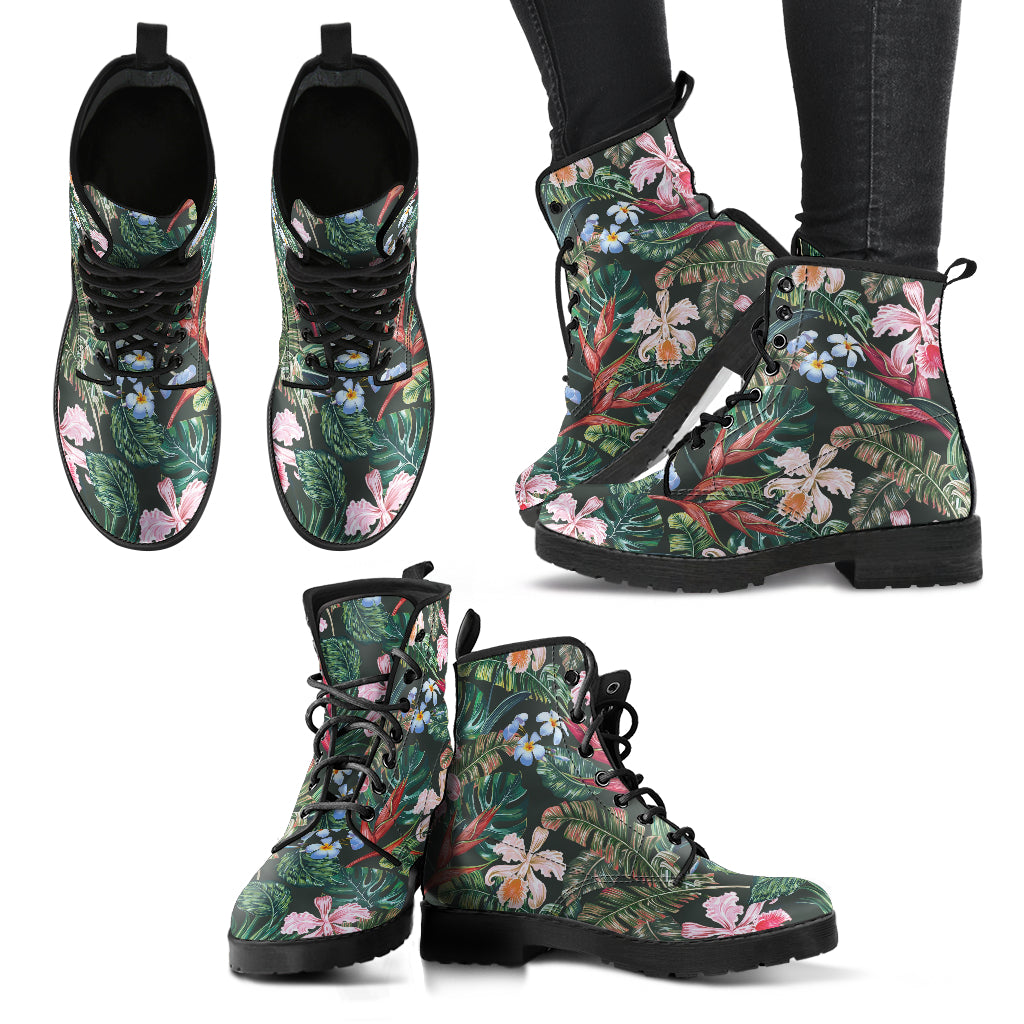 Tropical Flower Women's Leather Boots