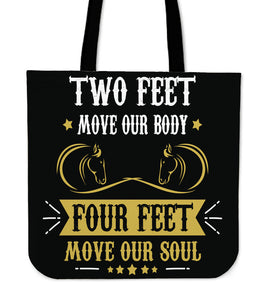 Two Feet Four Feet Horse Cloth Tote Bag