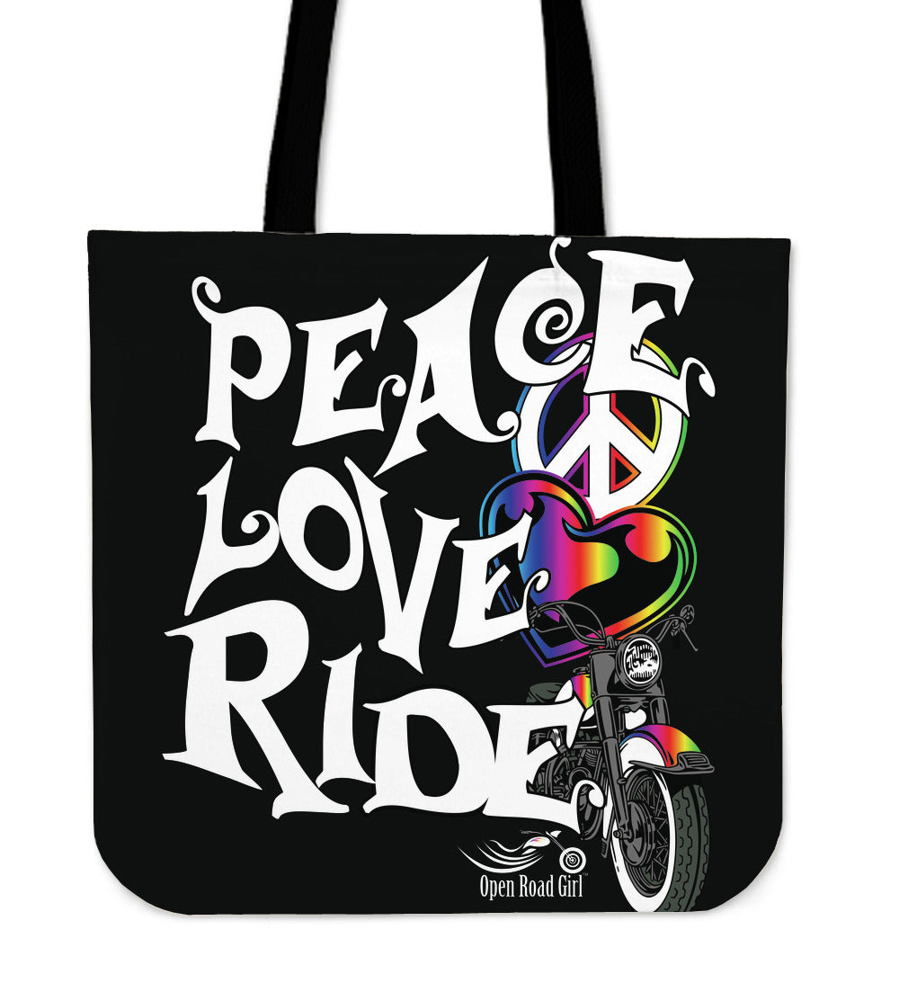 RAINBOW Love, Peace, Ride CLOTH TOTE