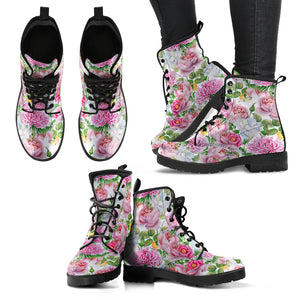 Watercolor Floral Women's Leather Boots