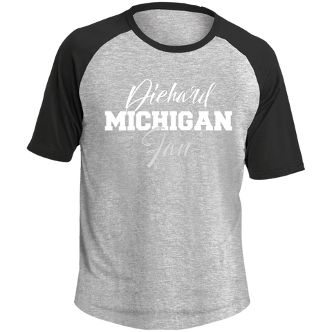 Michigan State Diehard Fan Sport-Tek SS Colorblock Raglan Jersey