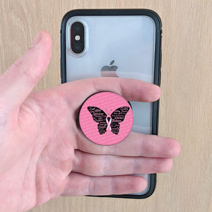 Breast Cancer Ribbon Butterfly Pop-Up Phone Grips