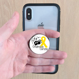 HEART HAND & RIBBON Childhood Cancer phone Grip