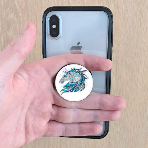 phone grip with horse w blue mane