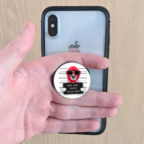 Funny Dog Mugshot Pop-up Phone Grip