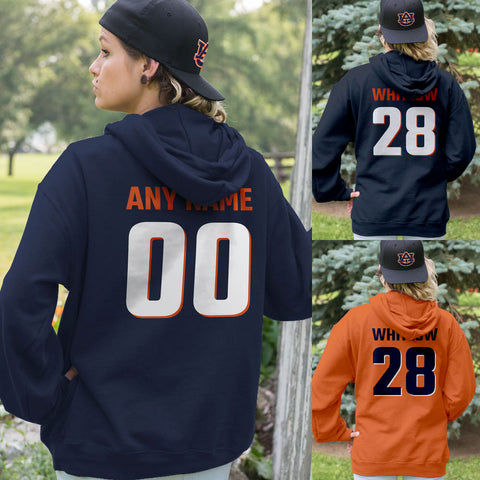 NAVY BLUE AND ORANGE Team Colors Adult Hoodie