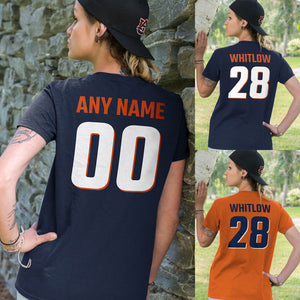 NAVY BLUE and ORANGE Team Color Adult Unisex T-Shirt