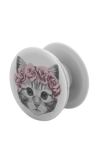 Cat With a Rose Crown pop-up phone grip