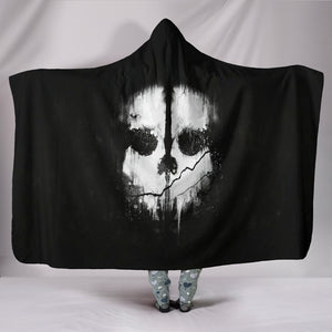 Skull Plush Lined Hooded Blanket