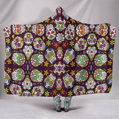 Custom Hoodie Blanket - Colorful Sugar Skulls