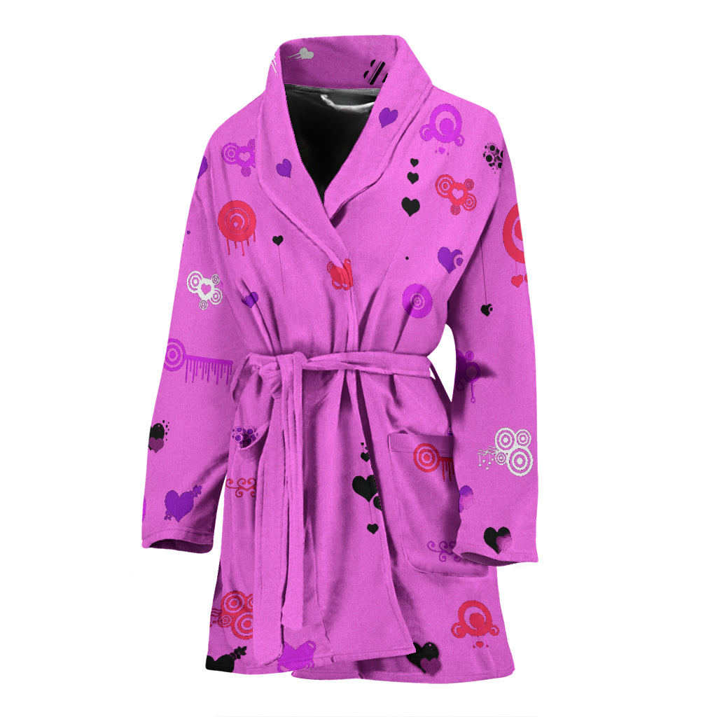 Bathrobe Hearts on Pink Women's Bath Robe