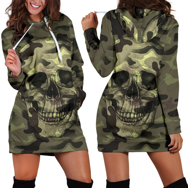 Camo Skull Hoodie Dress Camouflage with Skulls