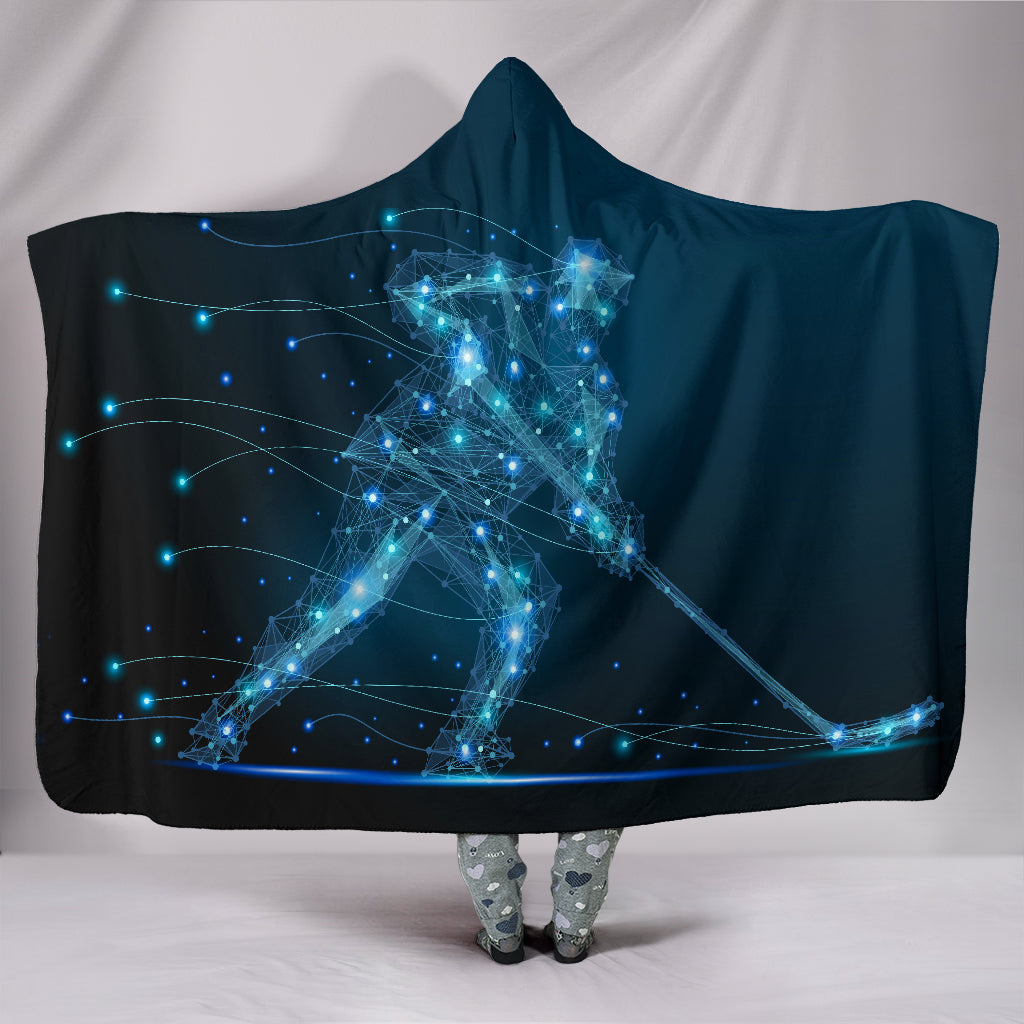 Ice Hockey Player Hooded Blanket