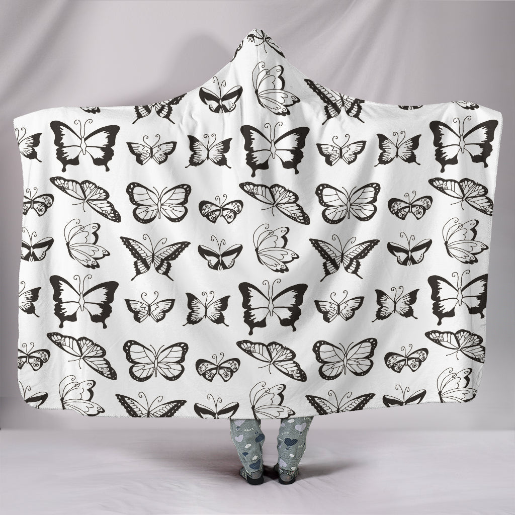 Customised Hoodie Blanket Black & White Butterflies