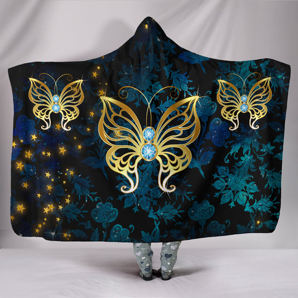 Butterfly on Blue Damask Hooded Blanket