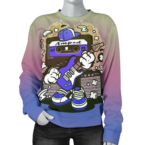 Amped Guitar All Over Print Women's Sweater for Musicians and Music Freaks